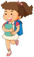 Liten tjej med blå ryggsäck vektor