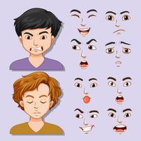 Set av ung man ansiktsuttryck vektor