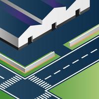 Vektor-isometrische Fabrik-Gebäude-Illustration