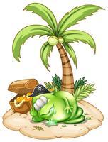 Ein schlafendes Piratenmonster unter dem Kokosnussbaum