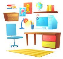 Gesetztes Objekt des Arbeitsplatzinnenraums. Mit Bett, Arbeitsplatz mit Schreibtisch und PC, Regalen und Buch. Vektorkarikaturabbildung