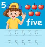 Nummer fünf, die Alphabetarbeitsblätter nachzeichnen