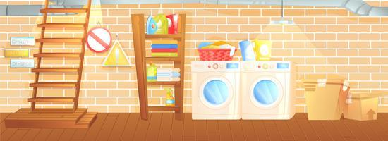 Källare interiör, tvätt i rummet med panna, tvättmaskin, trappa och lådor. Vektor tecknad illustration