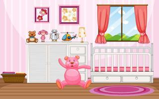 Schlafzimmerszene mit rosa Teddybär und weißer Krippe
