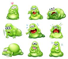 Nio gröna monster som deltar i olika aktiviteter