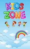 Affischdesign med barn i blå himmel