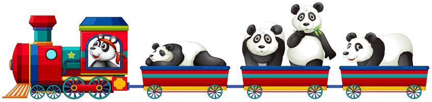 Panda och tåg vektor