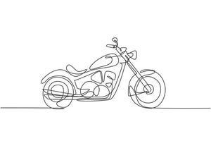 Eine einzige Strichzeichnung des alten Retro-Vintage-Motorrads. Vintage-Motorrad-Transportkonzept kontinuierliche Linie zeichnen Design-Vektor-Illustration-Grafik vektor