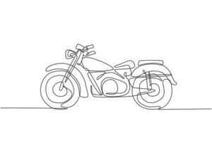 einzelne durchgehende Strichzeichnung des alten klassischen Vintage-Motorradsymbols. Retro-Motorrad-Transportkonzept eine Linie Grafik zeichnen Design-Vektor-Illustration vektor