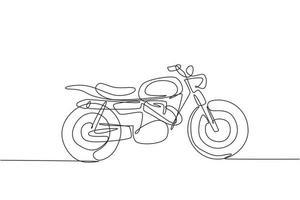 Eine durchgehende Strichzeichnung des Retro-Oldtimer-Motorradsymbols. klassisches Motorrad-Transportkonzept einzeilige Grafik-Draw-Design-Vektor-Illustration vektor