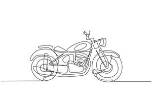 einzelne durchgehende Strichzeichnung des alten klassischen Vintage-Chopper-Motorradsymbols. Retro-Motorrad-Transportkonzept eine Linie zeichnen Design-Grafik-Vektor-Illustration vektor