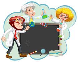 Drei Wissenschaftler an der Tafel vektor