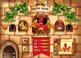 Spielschablone mit Drachen- und Schlosshintergrund vektor
