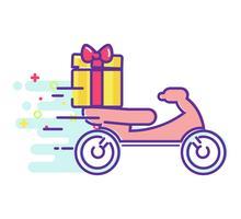 Snabb leverans av mat på en moped. Vektor platt illustration