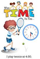 Ein Junge, der um 4:30 Uhr Tennis spielt vektor