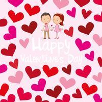 Glückliche Valentinsgrußkartenschablone mit Liebespaaren vektor