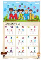 Math kalkylblad för multiplikation till hundra