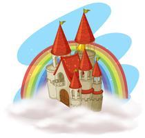 Ett Fairytale Castle och Rainbow vektor
