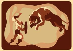 Gladiator gegen Tiger-Vektor vektor