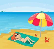 Ein Sonnenbad nehmendes Mädchen