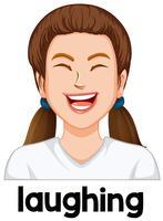 Ung tjej skratta ansiktsuttryck vektor
