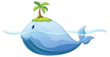 Delphin und Insel im Meer vektor