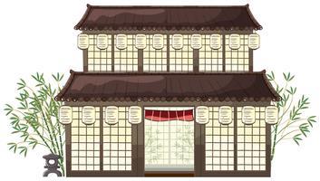orientalisches Gebäude mit Laternen und Bambus vektor