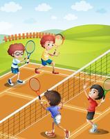 Kinder, die auf dem Platz Tennis spielen vektor