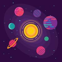 Set med ovanliga färgstarka levande planeter på universums bakgrund