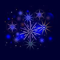 Ein helles Feuerwerk begrüßt. Eine Festnacht in der Stadt. Vektor flache Steigung Illustration