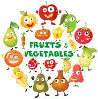 Frukt och grönsaker med ansikten