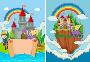 Prinz und Drache im Schloss vektor
