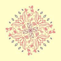 Flache indische Blume Kolam-Muster-Vektor-Illustration