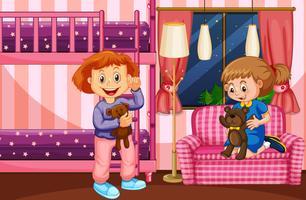 Sovrumscen med två tjejer och våningssäng