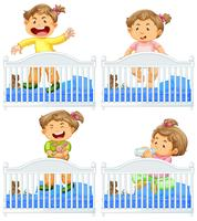 Spädbarn i spjälsäng på vit bakgrund vektor
