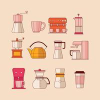 Kaffee-Illustrationssatz Eelements vektor