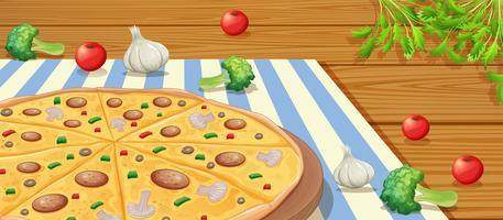 Italiensk Pepperoni Pizza på bordet vektor