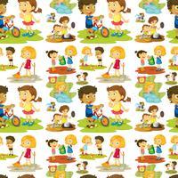 Nahtlose Kinder spielen und tun Aufgaben