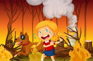 Ein Mädchen, das im Wald des Waldfeuers weint vektor