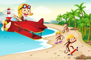 Verspielter Affe am Strand vektor
