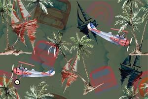nahtloses Muster Kokospalme und Segelboot 3 vektor