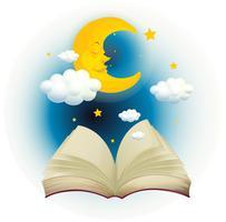 En tom öppen bok med en sovande måne