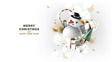 Frohe Weihnachten und ein glückliches neues Jahr Banner mit Dekoration für das Weihnachtsfest. vektor