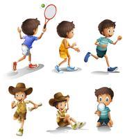 Pojkar med olika aktiviteter