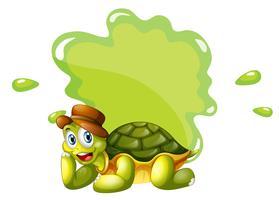 Eine Schildkröte am unteren Rand einer leeren Vorlage vektor
