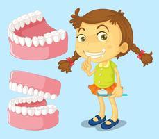 Liten tjej med rena tänder
