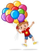 Glad pojke med färgglada ballonger vektor