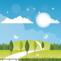 Vektor vårlandskap illustration