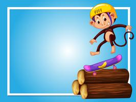 Rahmendesign mit Affen auf Skateboard vektor