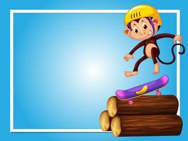 Ramdesign med apa på skateboard